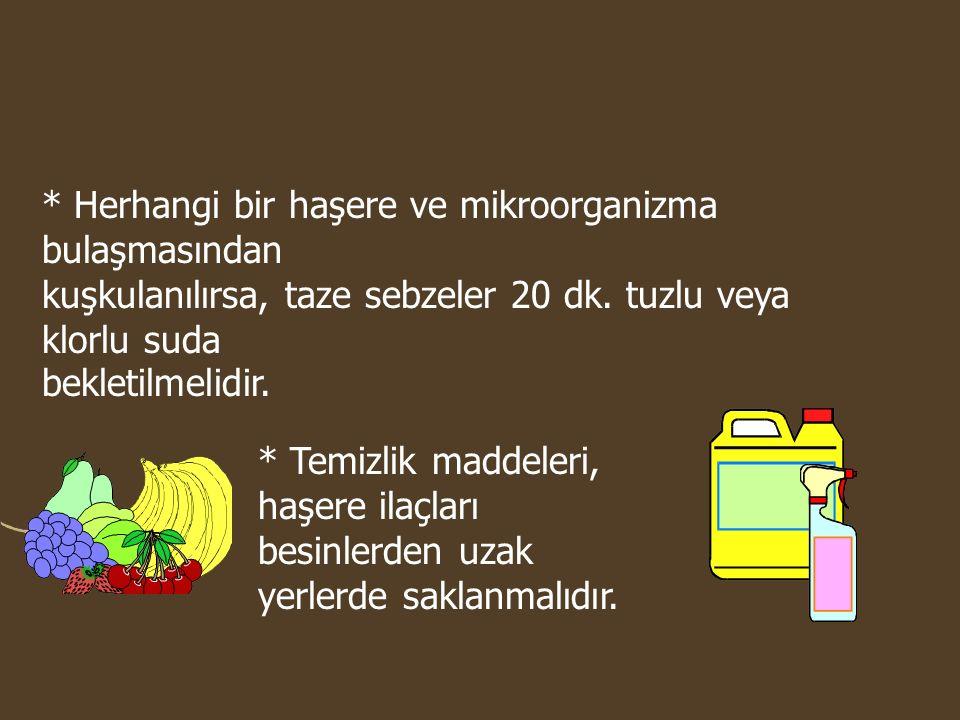 * Herhangi bir haşere ve mikroorganizma bulaşmasından kuşkulanılırsa, taze sebzeler 20 dk. tuzlu veya klorlu suda bekletilmelidir. * Temizlik maddeler