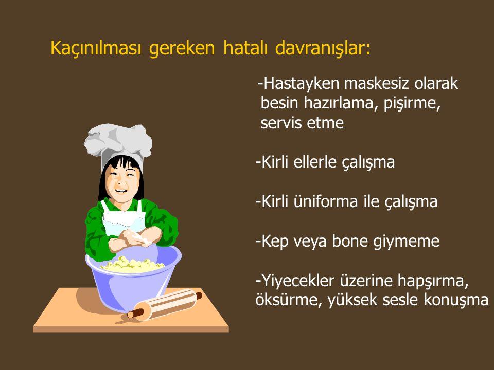 -Hastayken maskesiz olarak besin hazırlama, pişirme, servis etme -Kirli ellerle çalışma -Kirli üniforma ile çalışma -Kep veya bone giymeme -Yiyecekler