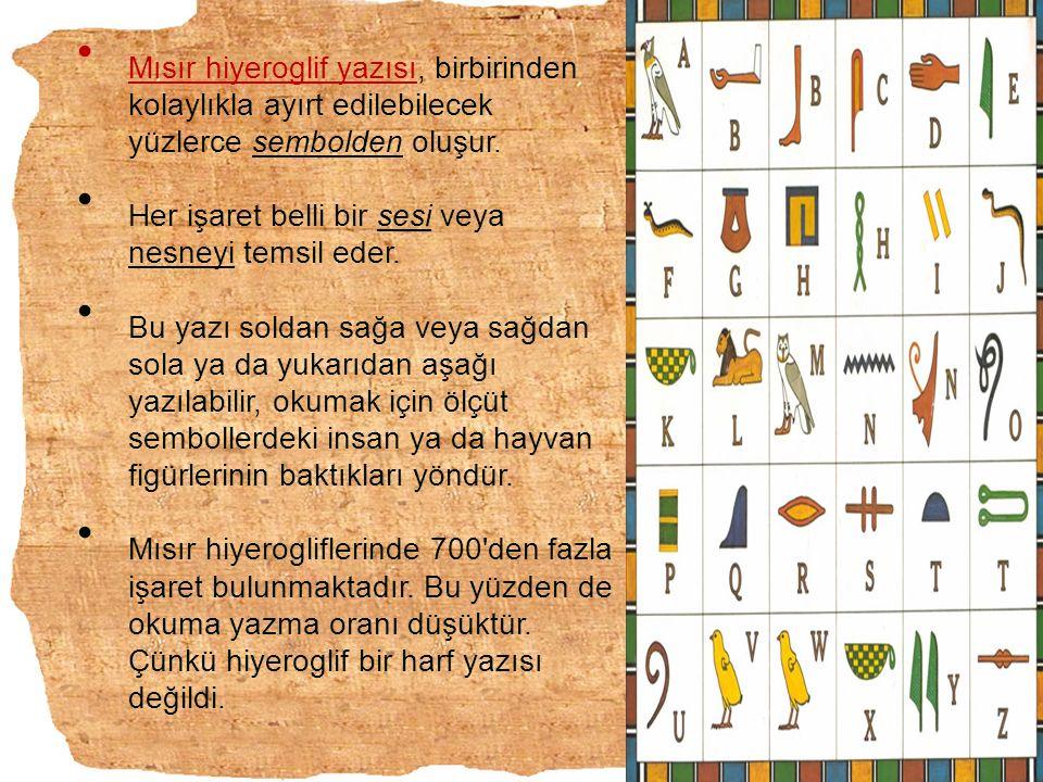 Mısır hiyeroglif yazısı, birbirinden kolaylıkla ayırt edilebilecek yüzlerce sembolden oluşur. Her işaret belli bir sesi veya nesneyi temsil eder. Bu y