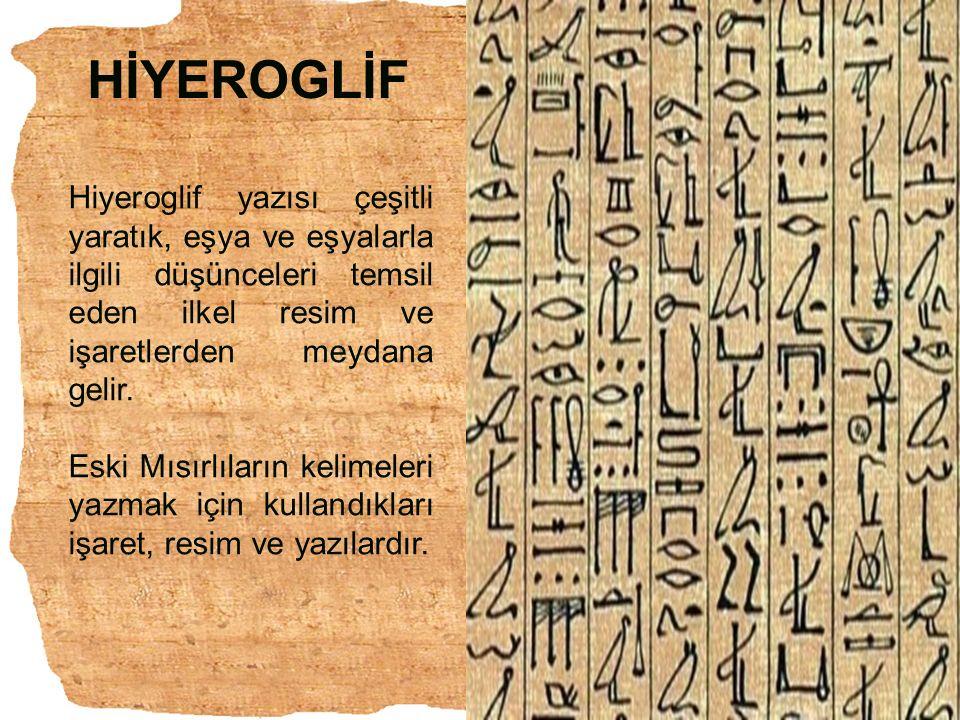HİYEROGLİF Hiyeroglif yazısı çeşitli yaratık, eşya ve eşyalarla ilgili düşünceleri temsil eden ilkel resim ve işaretlerden meydana gelir. Eski Mısırlı