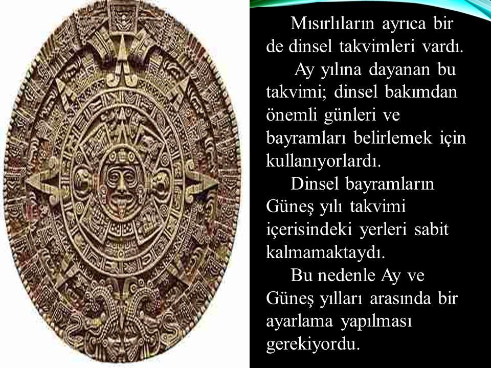 Mısırlıların ayrıca bir de dinsel takvimleri vardı. Ay yılına dayanan bu takvimi; dinsel bakımdan önemli günleri ve bayramları belirlemek için kullanı