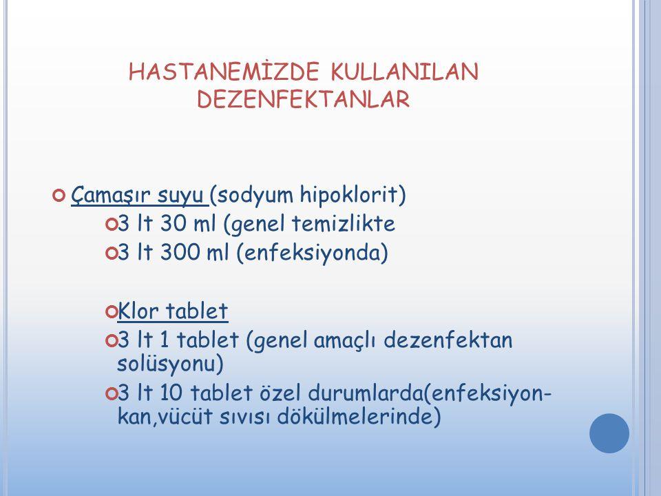 HASTANEMİZDE KULLANILAN DEZENFEKTANLAR Çamaşır suyu (sodyum hipoklorit) 3 lt 30 ml (genel temizlikte 3 lt 300 ml (enfeksiyonda) Klor tablet 3 lt 1 tab