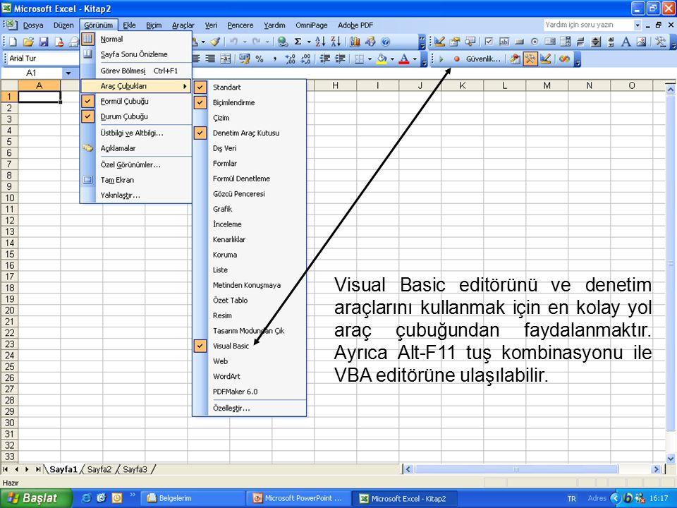 Visual Basic editörünü ve denetim araçlarını kullanmak için en kolay yol araç çubuğundan faydalanmaktır. Ayrıca Alt-F11 tuş kombinasyonu ile VBA editö