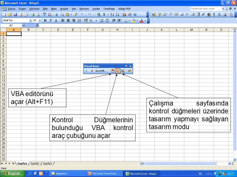 VBA editörünü açar (Alt+F11) Kontrol Düğmelerinin bulunduğu VBA kontrol araç çubuğunu açar Çalışma sayfasında kontrol düğmeleri üzerinde tasarım yapma