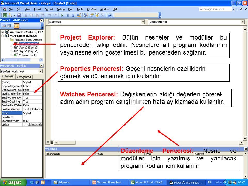 Project Explorer: Bütün nesneler ve modüller bu pencereden takip edilir. Nesnelere ait program kodlarının veya nesnelerin gösterilmesi bu pencereden s
