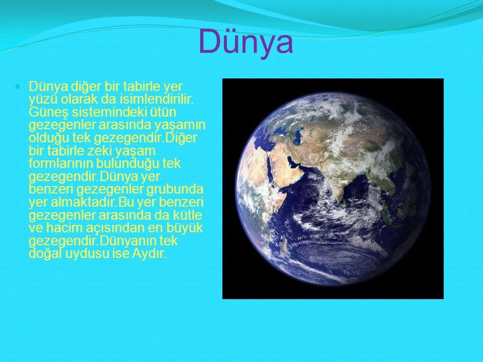 Dünya Dünya diğer bir tabirle yer yüzü olarak da isimlendirilir. Güneş sistemindeki ütün gezegenler arasında yaşamın olduğu tek gezegendir.Diğer bir t