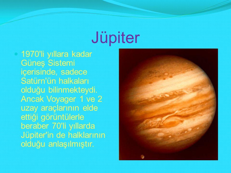 Jüpiter 1970'li yıllara kadar Güneş Sistemi içerisinde, sadece Satürn'ün halkaları olduğu bilinmekteydi. Ancak Voyager 1 ve 2 uzay araçlarının elde et