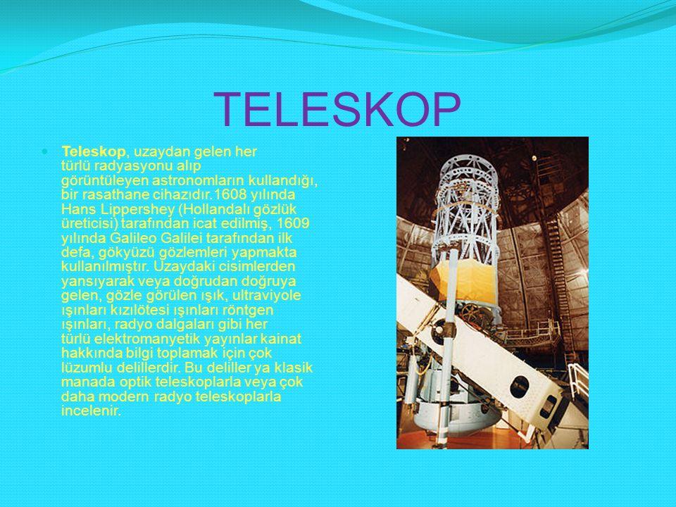TELESKOP Teleskop, uzaydan gelen her türlü radyasyonu alıp görüntüleyen astronomların kullandığı, bir rasathane cihazıdır.1608 yılında Hans Lippershey