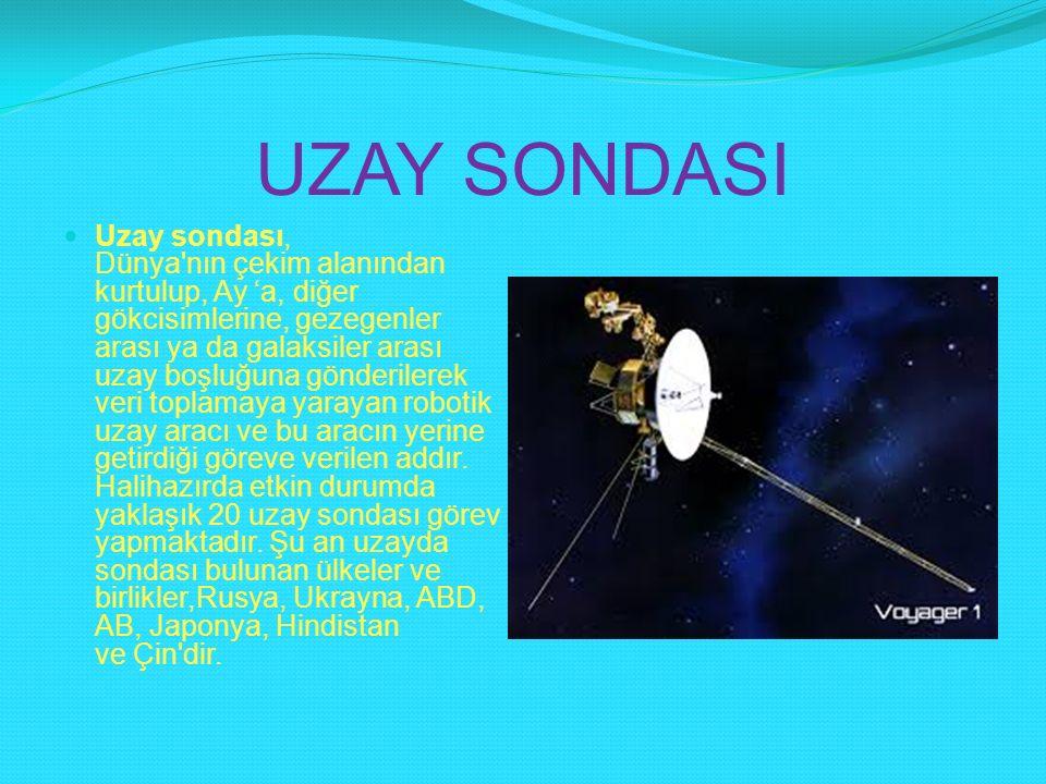 UZAY SONDASI Uzay sondası, Dünya'nın çekim alanından kurtulup, Ay 'a, diğer gökcisimlerine, gezegenler arası ya da galaksiler arası uzay boşluğuna gön