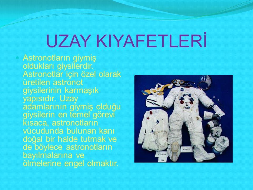 UZAY KIYAFETLERİ Astronotların giymiş oldukları giysilerdir. Astronotlar için özel olarak üretilen astronot giysilerinin karmaşık yapısıdır. Uzay adam