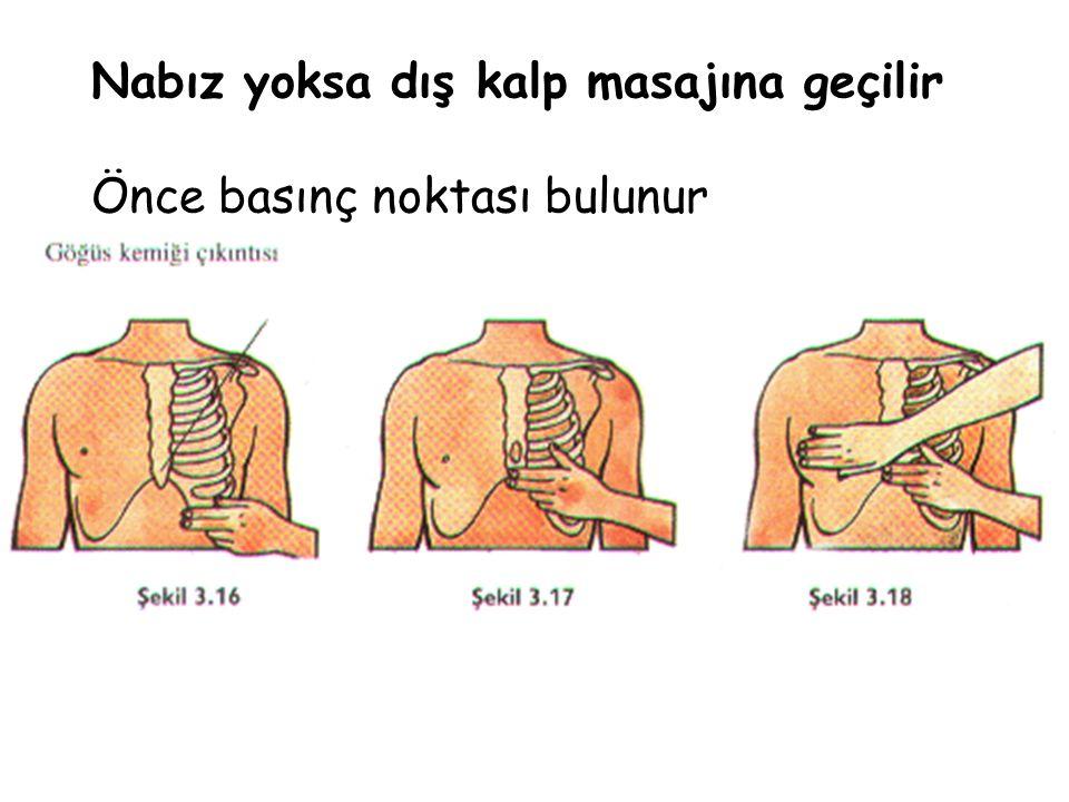 Nabız yoksa dış kalp masajına geçilir Önce basınç noktası bulunur