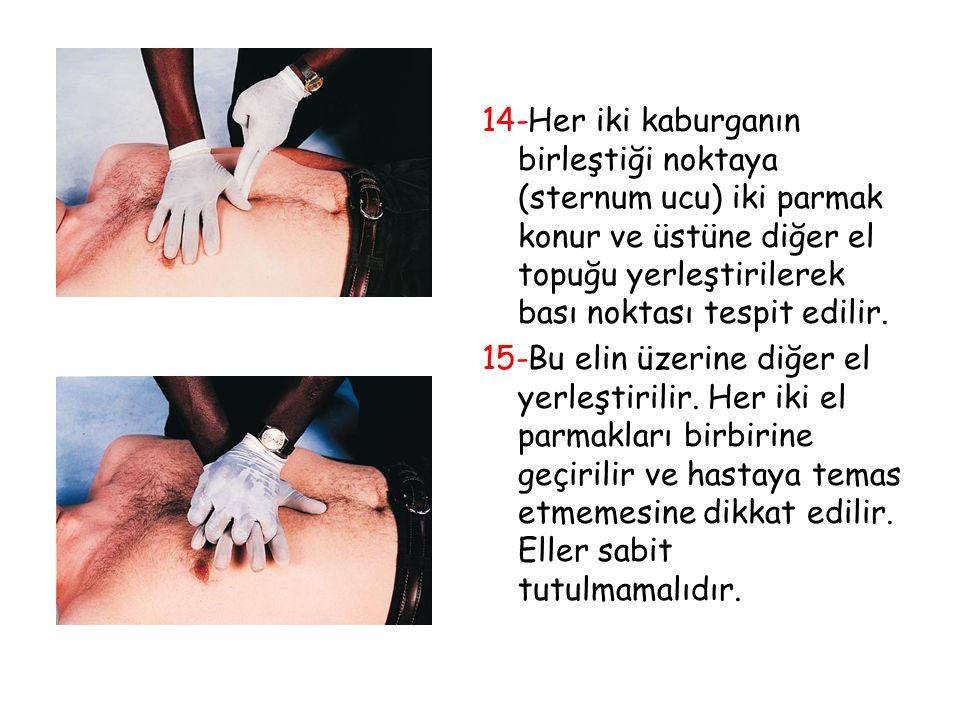 14-Her iki kaburganın birleştiği noktaya (sternum ucu) iki parmak konur ve üstüne diğer el topuğu yerleştirilerek bası noktası tespit edilir.