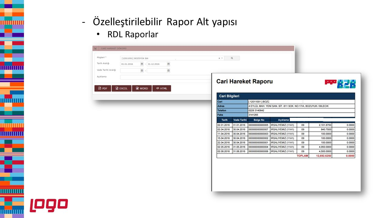 -Özelleştirilebilir Rapor Alt yapısı RDL Raporlar