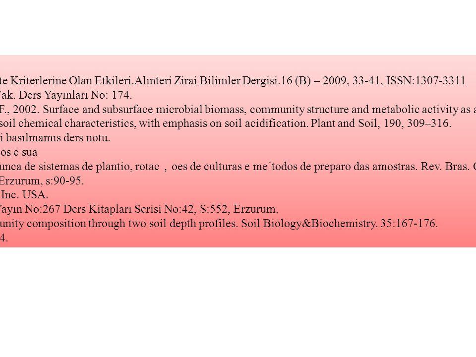 KAYNAKLAR Altıkat, S, Çelik, A.,2009.Toprak İsleme Sistemlerinin Önemli Bazı Toprak Kalite Kriterlerine Olan Etkileri.Alınteri Zirai Bilimler Dergisi.