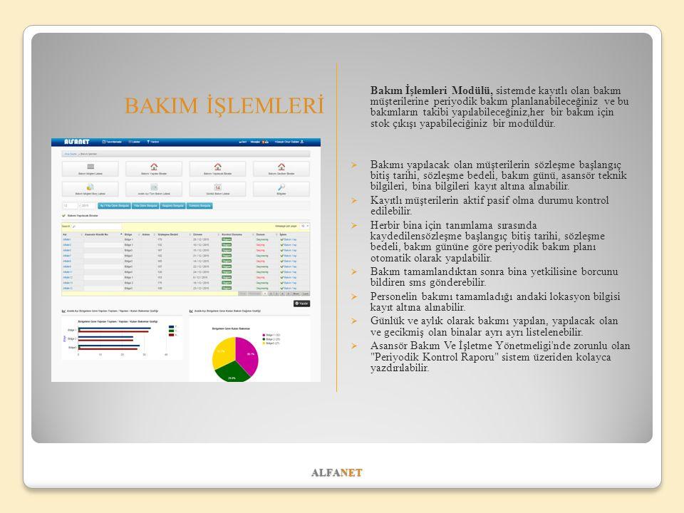 ALFANET BAKIM İŞLEMLERİ Bakım İşlemleri Modülü, sistemde kayıtlı olan bakım müşterilerine periyodik bakım planlanabileceğiniz ve bu bakımların takibi