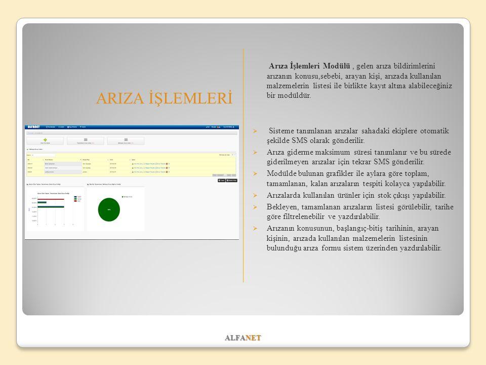 ALFANET ARIZA İŞLEMLERİ Arıza İşlemleri Modülü, gelen arıza bildirimlerini arızanın konusu,sebebi, arayan kişi, arızada kullanılan malzemelerin listes