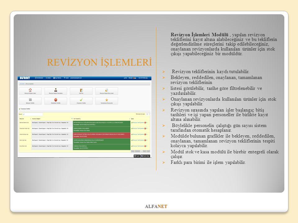 ALFANET REVİZYON İŞLEMLERİ Revizyon İşlemleri Modülü, yapılan revizyon tekliflerini kayıt altına alabileceğiniz ve bu tekliflerin değerlendirilme süreçlerini takip edilebileceğiniz, onaylanan revizyonlarda kullanılan ürünler için stok çıkışı yapabileceğiniz bir modüldür.