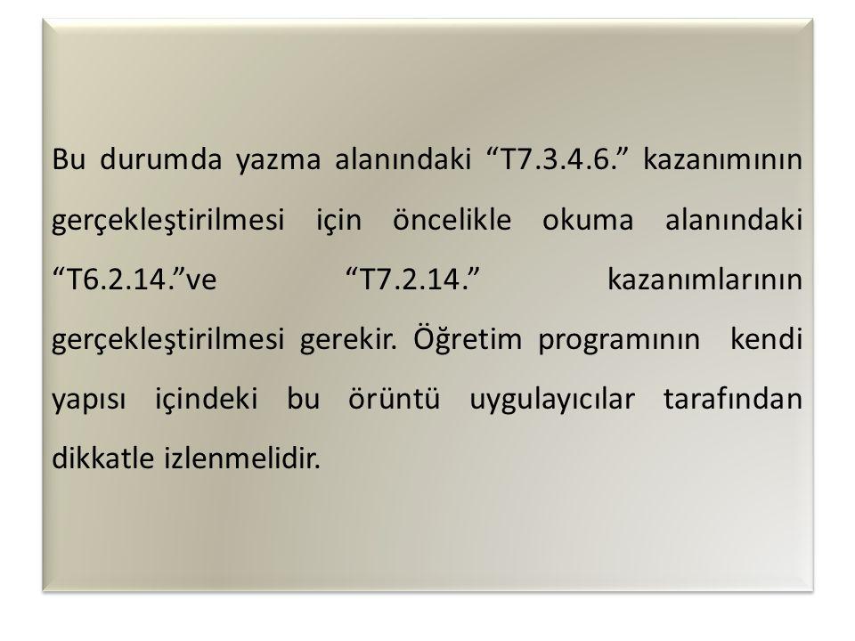 Bu durumda yazma alanındaki T7.3.4.6. kazanımının gerçekleştirilmesi için öncelikle okuma alanındaki T6.2.14. ve T7.2.14. kazanımlarının gerçekleştirilmesi gerekir.