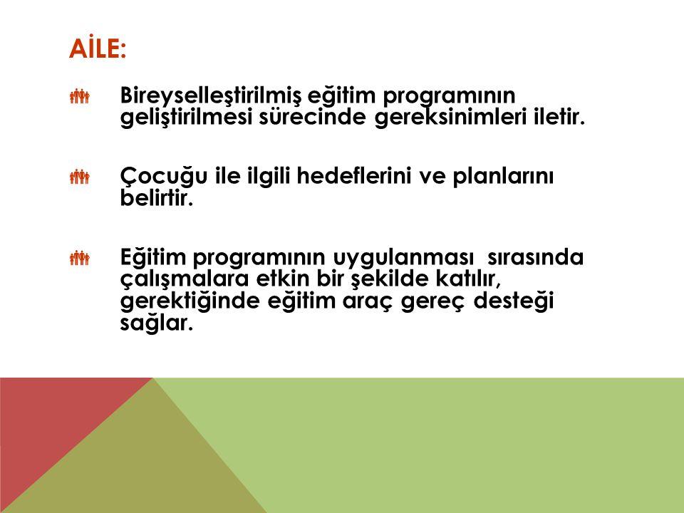 AİLE:  Bireyselleştirilmiş eğitim programının geliştirilmesi sürecinde gereksinimleri iletir.