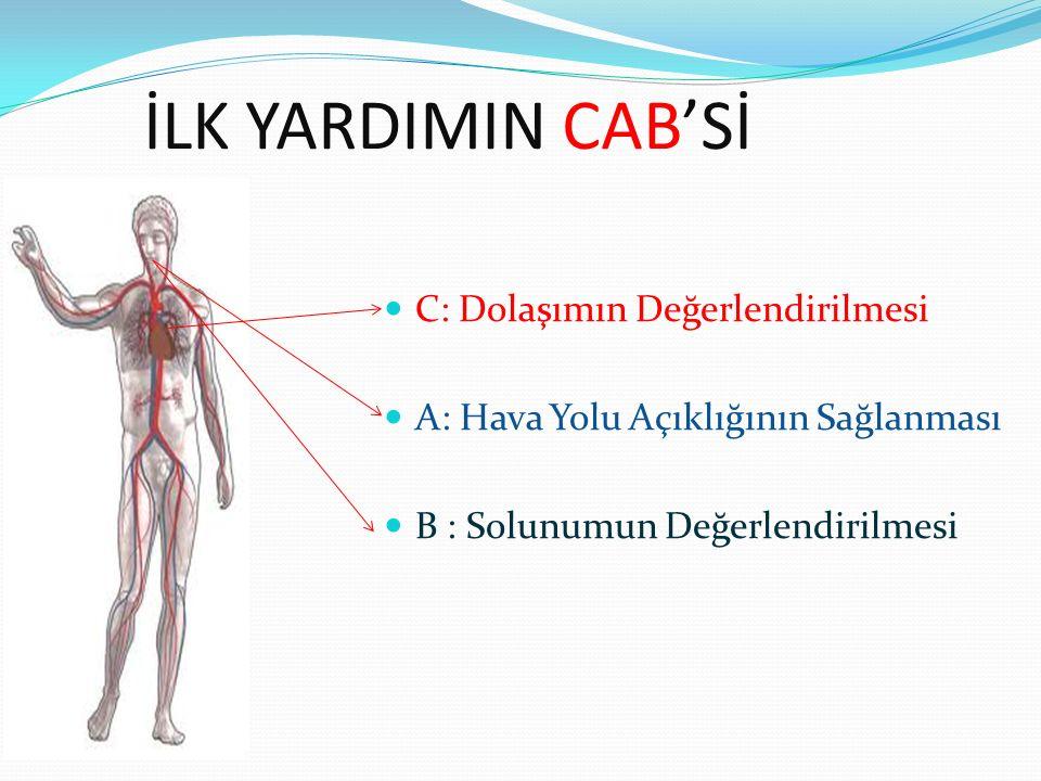 İLK YARDIMIN CAB'Sİ C: Dolaşımın Değerlendirilmesi A: Hava Yolu Açıklığının Sağlanması B : Solunumun Değerlendirilmesi
