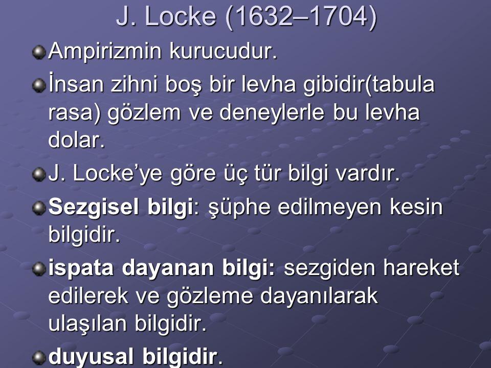 J. Locke (1632–1704) Ampirizmin kurucudur. İnsan zihni boş bir levha gibidir(tabula rasa) gözlem ve deneylerle bu levha dolar. J. Locke'ye göre üç tür