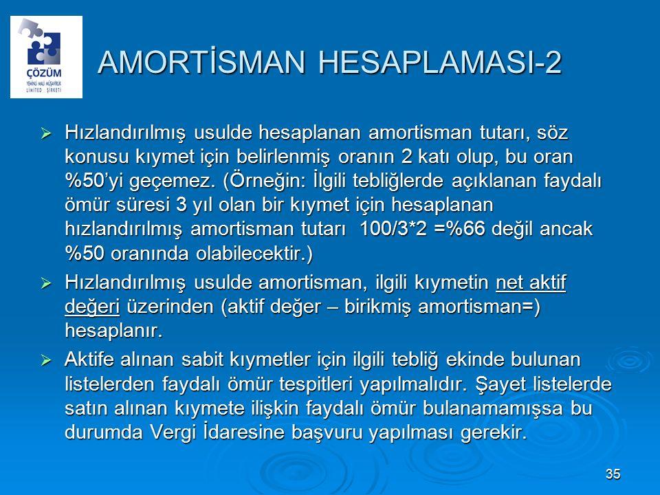 AMORTİSMAN HESAPLAMASI-2  Hızlandırılmış usulde hesaplanan amortisman tutarı, söz konusu kıymet için belirlenmiş oranın 2 katı olup, bu oran %50'yi geçemez.