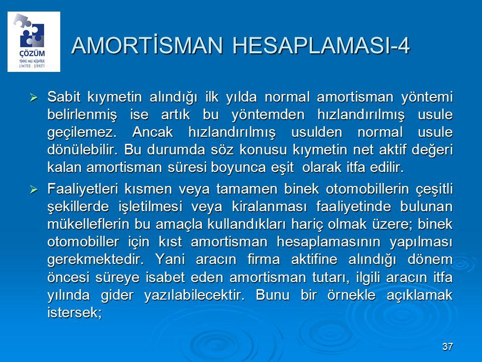 AMORTİSMAN HESAPLAMASI-4  Sabit kıymetin alındığı ilk yılda normal amortisman yöntemi belirlenmiş ise artık bu yöntemden hızlandırılmış usule geçilemez.