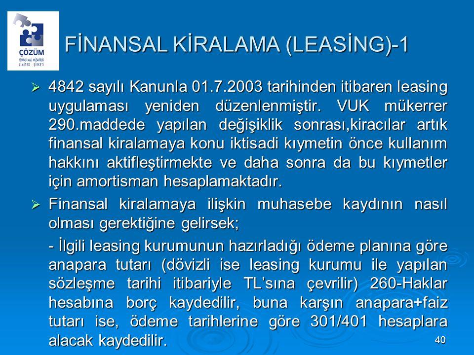FİNANSAL KİRALAMA (LEASİNG)-1  4842 sayılı Kanunla 01.7.2003 tarihinden itibaren leasing uygulaması yeniden düzenlenmiştir.