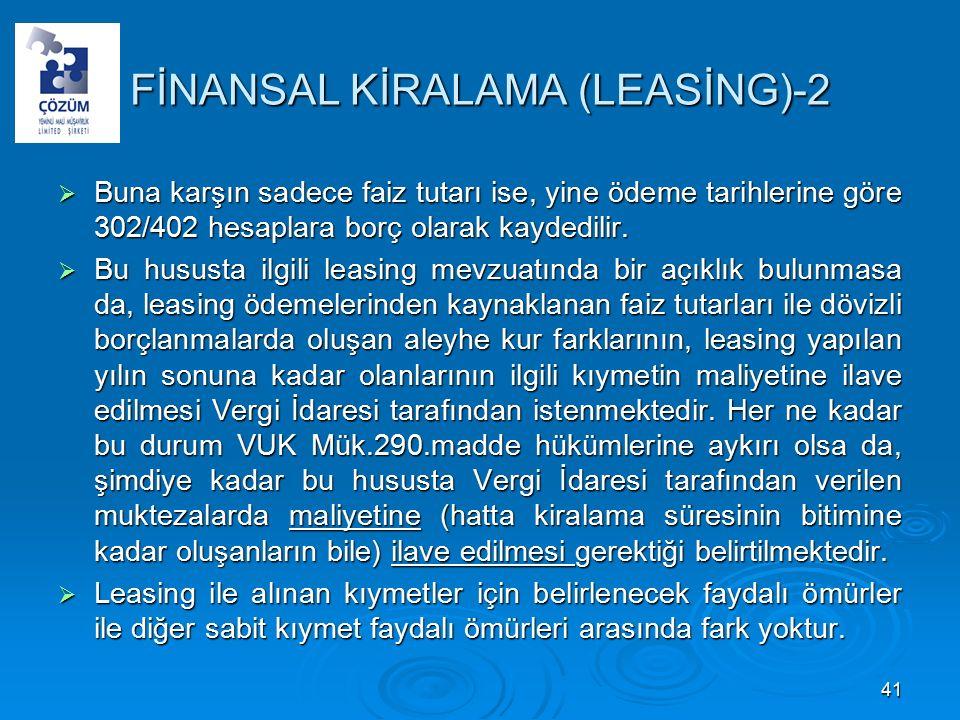 FİNANSAL KİRALAMA (LEASİNG)-2  Buna karşın sadece faiz tutarı ise, yine ödeme tarihlerine göre 302/402 hesaplara borç olarak kaydedilir.
