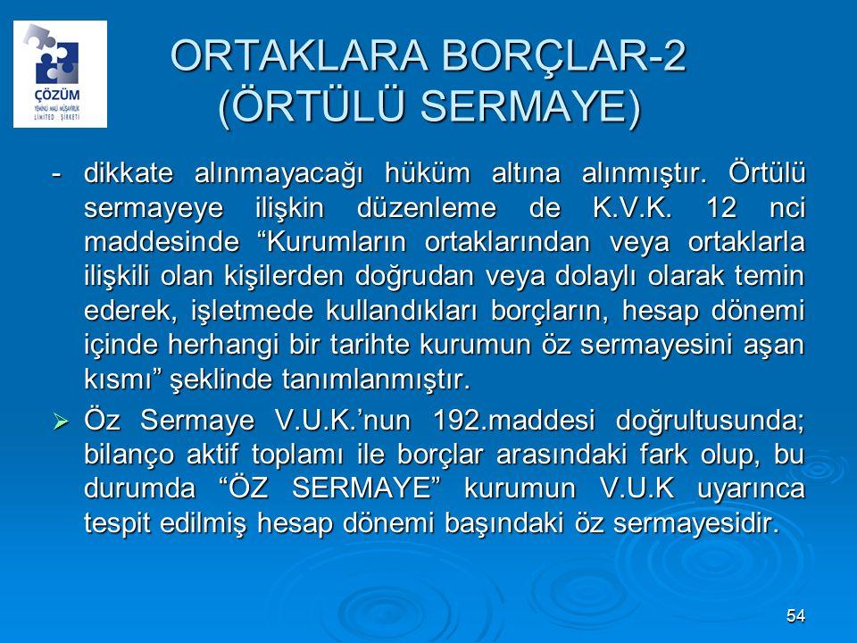 ORTAKLARA BORÇLAR-2 (ÖRTÜLÜ SERMAYE) -dikkate alınmayacağı hüküm altına alınmıştır.