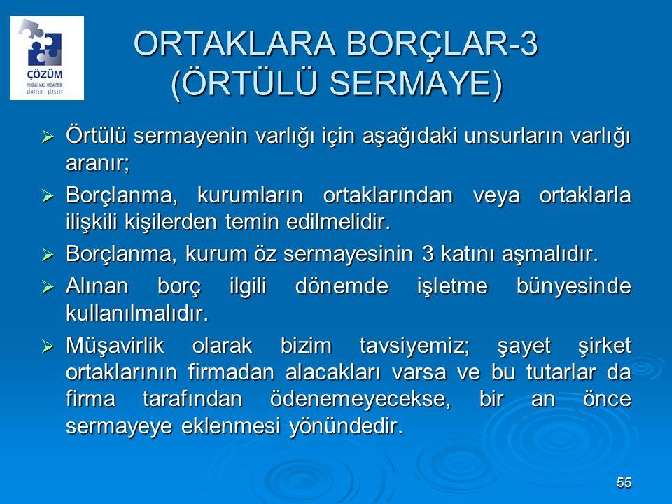 ORTAKLARA BORÇLAR-3 (ÖRTÜLÜ SERMAYE)  Örtülü sermayenin varlığı için aşağıdaki unsurların varlığı aranır;  Borçlanma, kurumların ortaklarından veya ortaklarla ilişkili kişilerden temin edilmelidir.