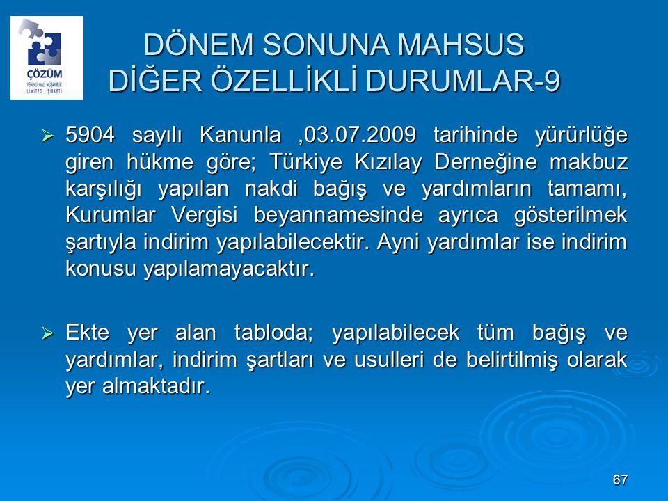 DÖNEM SONUNA MAHSUS DİĞER ÖZELLİKLİ DURUMLAR-9  5904 sayılı Kanunla,03.07.2009 tarihinde yürürlüğe giren hükme göre; Türkiye Kızılay Derneğine makbuz karşılığı yapılan nakdi bağış ve yardımların tamamı, Kurumlar Vergisi beyannamesinde ayrıca gösterilmek şartıyla indirim yapılabilecektir.