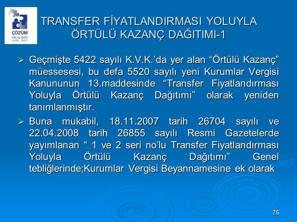 TRANSFER FİYATLANDIRMASI YOLUYLA ÖRTÜLÜ KAZANÇ DAĞITIMI-1  Geçmişte 5422 sayılı K.V.K.'da yer alan Örtülü Kazanç müessesesi, bu defa 5520 sayılı yeni Kurumlar Vergisi Kanununun 13.maddesinde Transfer Fiyatlandırması Yoluyla Örtülü Kazanç Dağıtımı olarak yeniden tanımlanmıştır.