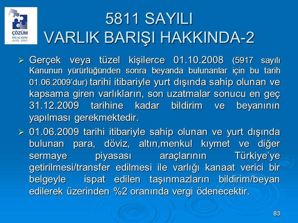 5811 SAYILI VARLIK BARIŞI HAKKINDA-2  Gerçek veya tüzel kişilerce 01.10.2008 (5917 sayılı Kanunun yürürlüğünden sonra beyanda bulunanlar için bu tarih 01.06.2009'dur) tarihi itibariyle yurt dışında sahip olunan ve kapsama giren varlıkların, son uzatmalar sonucu en geç 31.12.2009 tarihine kadar bildirim ve beyanının yapılması gerekmektedir.