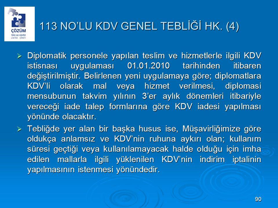 113 NO'LU KDV GENEL TEBLİĞİ HK.
