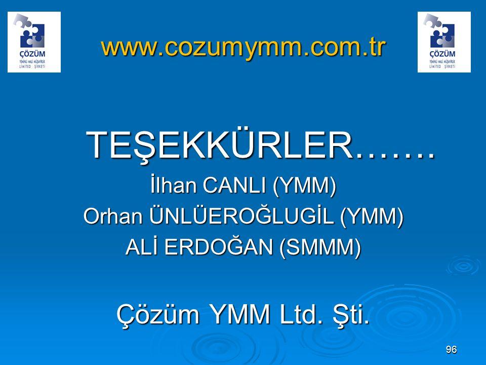 www.cozumymm.com.tr TEŞEKKÜRLER…….TEŞEKKÜRLER…….