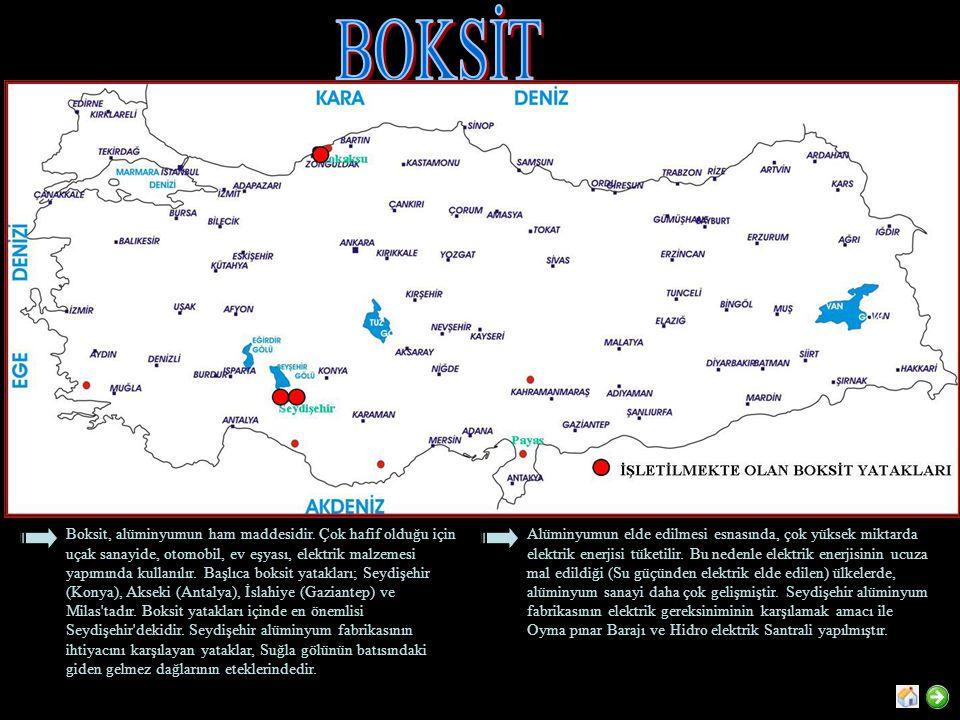 Boksit, alüminyumun ham maddesidir. Çok hafif olduğu için uçak sanayide, otomobil, ev eşyası, elektrik malzemesi yapımında kullanılır. Başlıca boksit