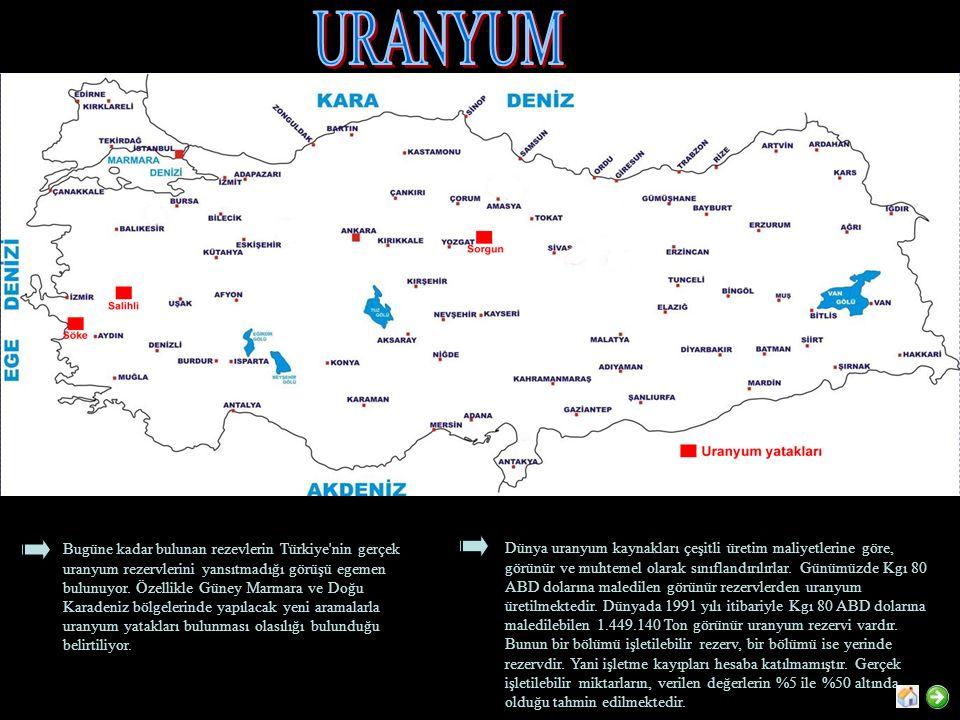 Bugüne kadar bulunan rezevlerin Türkiye'nin gerçek uranyum rezervlerini yansıtmadığı görüşü egemen bulunuyor. Özellikle Güney Marmara ve Doğu Karadeni