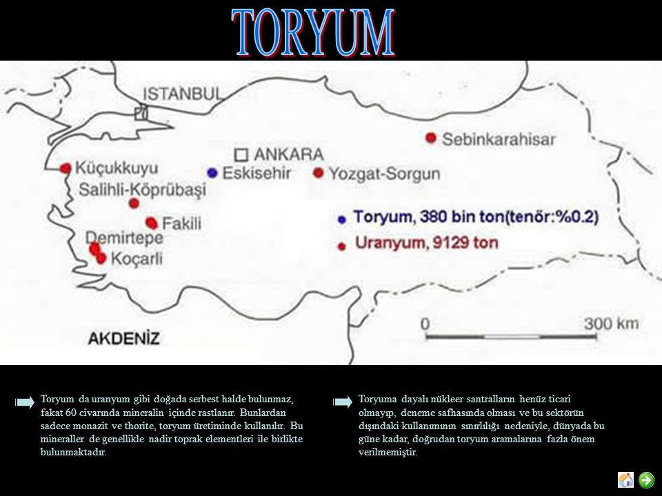 Toryum da uranyum gibi doğada serbest halde bulunmaz, fakat 60 civarında mineralin içinde rastlanır. Bunlardan sadece monazit ve thorite, toryum üreti