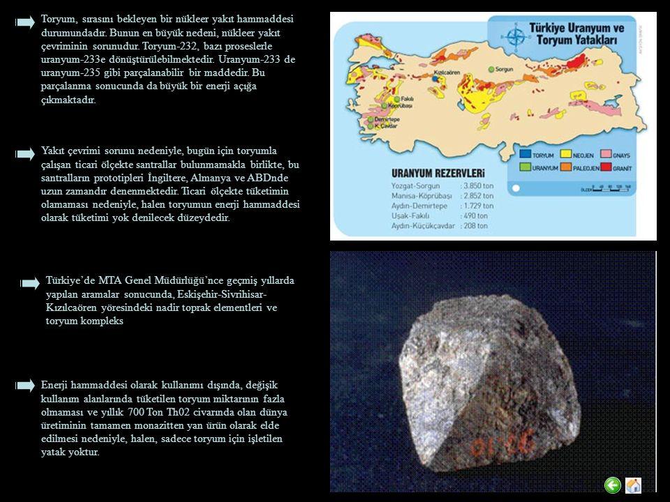 Toryum, sırasını bekleyen bir nükleer yakıt hammaddesi durumundadır. Bunun en büyük nedeni, nükleer yakıt çevriminin sorunudur. Toryum-232, bazı prose