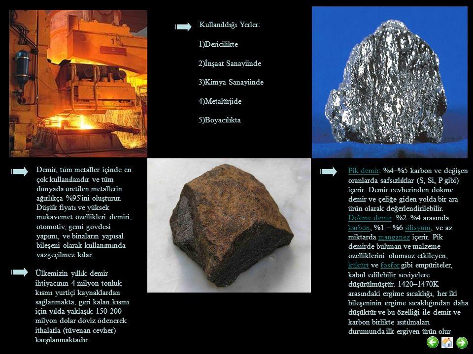 Demir, tüm metaller içinde en çok kullanılandır ve tüm dünyada üretilen metallerin ağırlıkça %95'ini oluşturur. Düşük fiyatı ve yüksek mukavemet özell