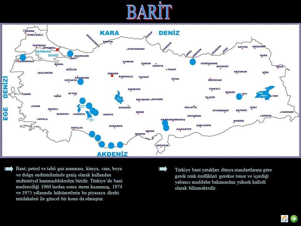 Bant; petrol ve tabii gaz aranması, kimya, cam, boya ve dolgu endüstrilerinde geniş olarak kullanılan endüstriyel hammaddelerden biridir. Türkiye'de b