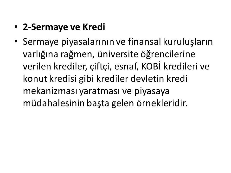 2-Sermaye ve Kredi Sermaye piyasalarının ve finansal kuruluşların varlığına rağmen, üniversite öğrencilerine verilen krediler, çiftçi, esnaf, KOBİ kre
