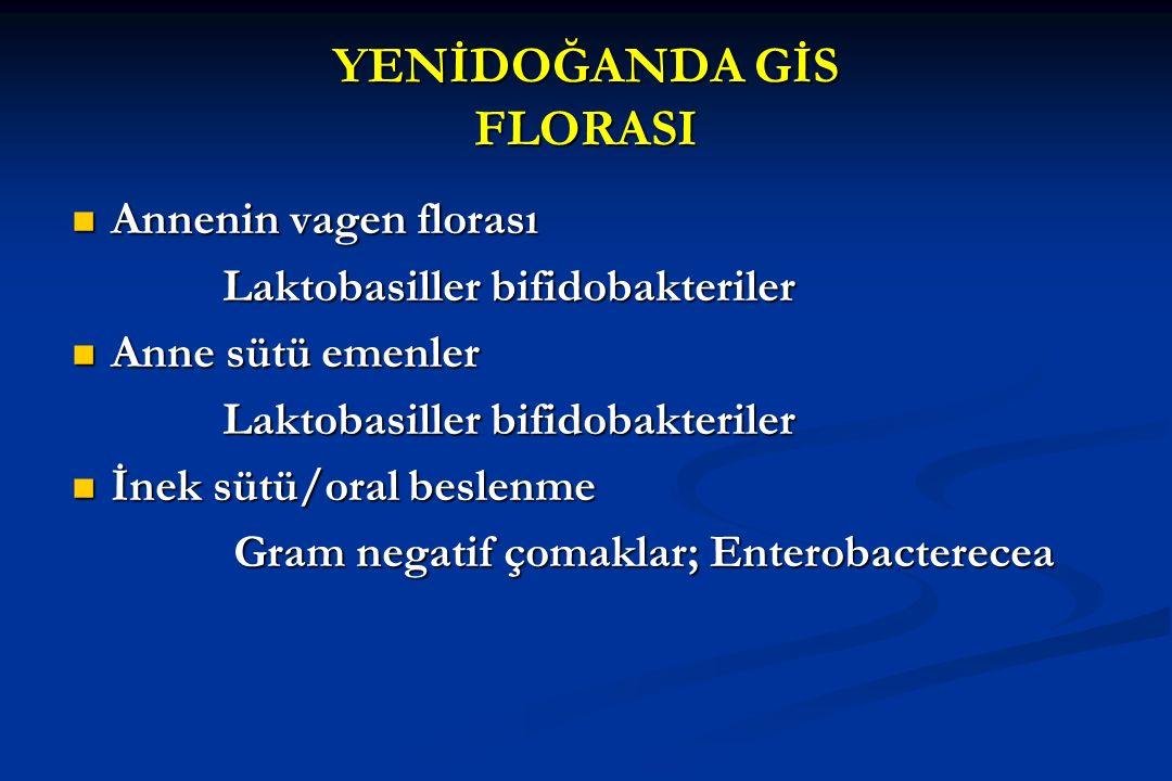 İNTESTİNAL FLORA İlk 24 saatte şekillenir (3- 48 s.) Tür :> 400 Sayı : 10 8 - 10 cfu/gr Kütle : 1.5 kg Çoğalma :100.000 x İnsan Metabolizma :Karaciğer'e eşit