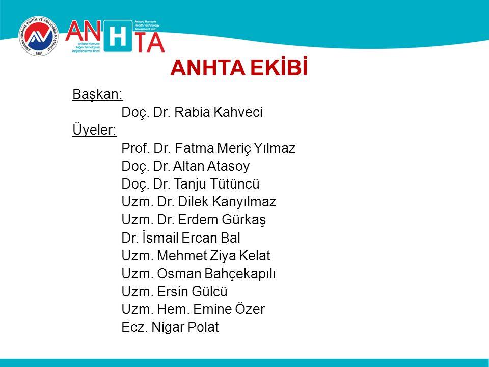 ANHTA EKİBİ Başkan: Doç.Dr. Rabia Kahveci Üyeler: Prof.
