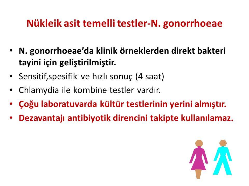 Nükleik asit temelli testler-N. gonorrhoeae N. gonorrhoeae'da klinik örneklerden direkt bakteri tayini için geliştirilmiştir. Sensitif,spesifik ve hız