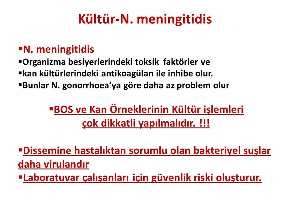 Kültür-N. meningitidis  N. meningitidis  Organizma besiyerlerindeki toksik faktörler ve  kan kültürlerindeki antikoagülan ile inhibe olur.  Bunlar