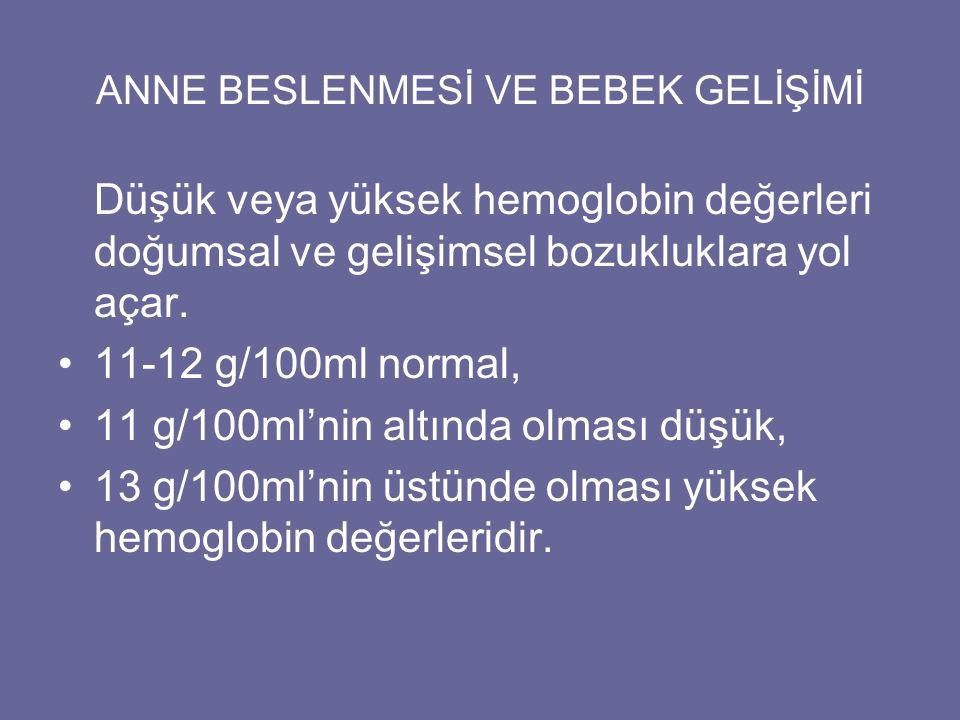 ANNE BESLENMESİ VE BEBEK GELİŞİMİ Düşük veya yüksek hemoglobin değerleri doğumsal ve gelişimsel bozukluklara yol açar. 11-12 g/100ml normal, 11 g/100m