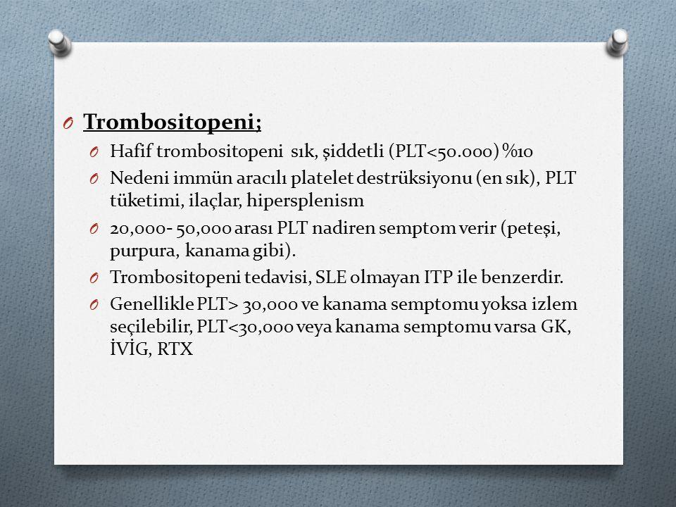 O Trombositopeni; O Hafif trombositopeni sık, şiddetli (PLT<50.000) %10 O Nedeni immün aracılı platelet destrüksiyonu (en sık), PLT tüketimi, ilaçlar, hipersplenism O 20,000- 50,000 arası PLT nadiren semptom verir (peteşi, purpura, kanama gibi).