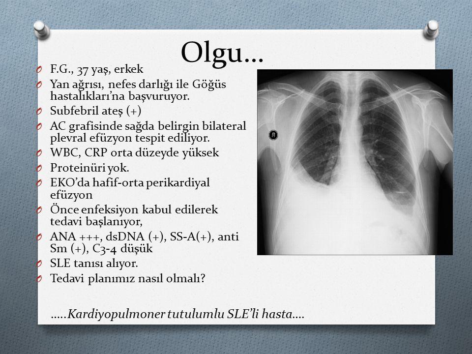 Olgu… O F.G., 37 yaş, erkek O Yan ağrısı, nefes darlığı ile Göğüs hastalıkları'na başvuruyor.